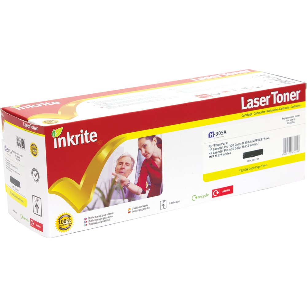 Inkrite Premium Quality Compatible Yellow for HP CE412A (305A) Laser Cartridge, 2.6K Page Yield