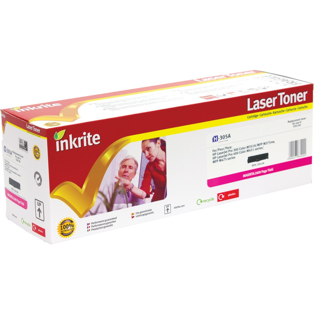 Inkrite Premium Quality Compatible Magenta for HP CE413A (305A) Laser Cartridge, 2.6K Page Yield