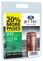 Replacement 20% More Pages Black Ink Cartridge (Alternative to HP No 15, C6615D)