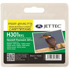 Jettec Replacement 301XL High Capacity Black Ink Cartridge (Alternative to HP No CH563E), 15ml