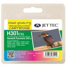 Jettec Replacement 301XL High Capacity Tri-Colour Ink Cartridge (Alternative to HP No CH564E), 18ml