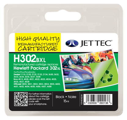 Jettec Replacement 302XL High Capacity Black Ink Cartridge (Alternative to HP No F6U68AE), 15ml