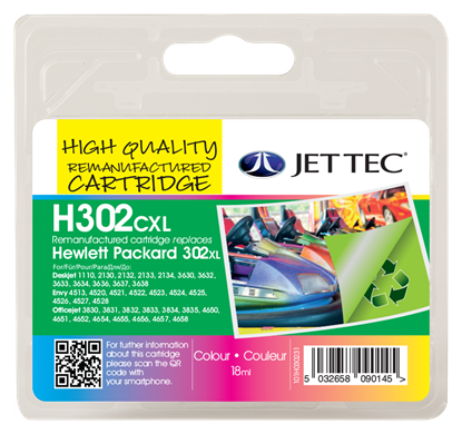 Jettec Replacement 302XL High Capacity Colour Ink Cartridge (Alternative to HP No F6U67AE), 18ml