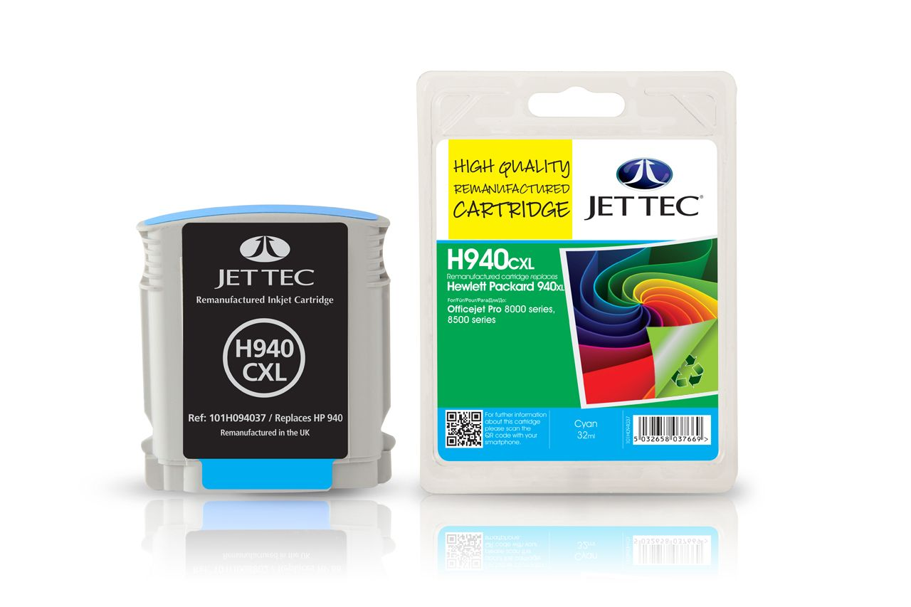 Jettec Replacement High Capacity Cyan Ink Cartridge (Alternative to HP No 940XL, C4907A)