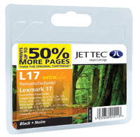 Replacement 50% More pages Black Ink Cartridge (Alternative to Lexmark No 17, 10NX217E)