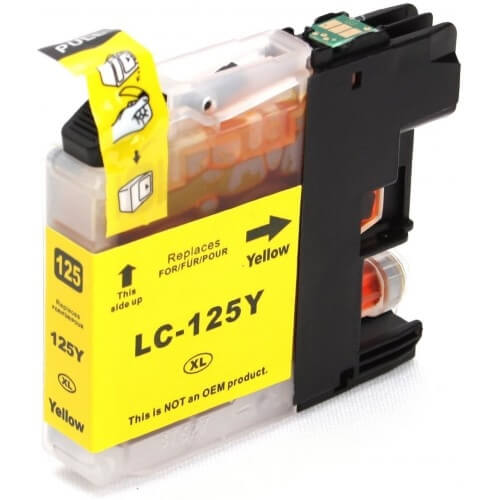 Compatible Brother LC125XL Yellow Ink Cartridge (High Capacity LC-125XLY Inkjet Printer Cartridge)