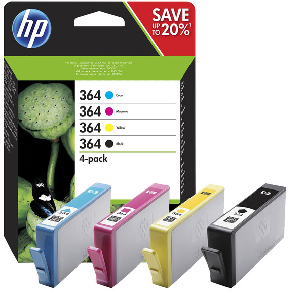 HP 364 Combo Pack Ink Cartridges - Black, Cyan, Magenta, Yellow N9J73AE