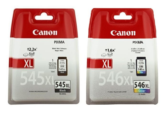 Genuine Canon PG545XL CL546XL High Capacity Black and Color Ink Cartridges