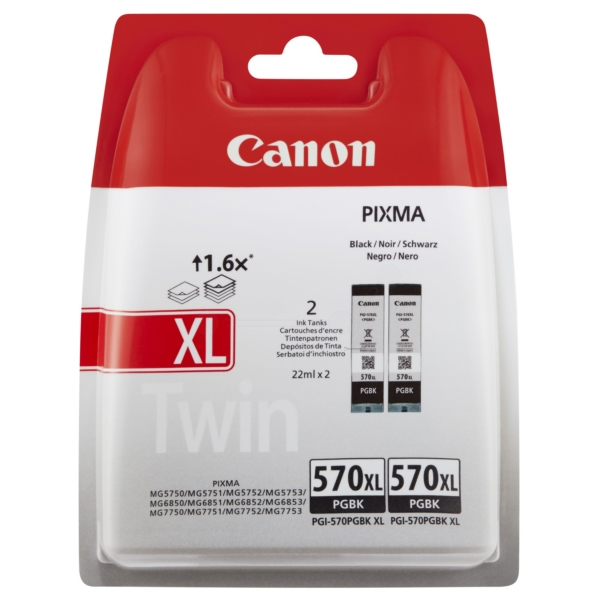 Canon 570XL High Capacity Twin Pack Black Ink Cartridge - PGI 570XL PGBK, 44ml