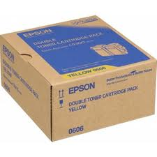 Epson C13S050606 Twin Pack Yellow Toner Cartridges, 2 x 7.5K Page Yield
