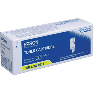 Epson High Capacity C13S050611 Yellow Toner Cartridge, 1.4K Page Yield