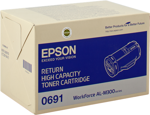 Epson S050691 High Capacity Return Program Black Toner Cartridge, 10K Page Yield