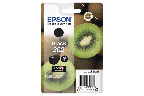 Epson 202 Black Ink Cartridge - T02E1 Kiwi Inkjet Printer Cartridge