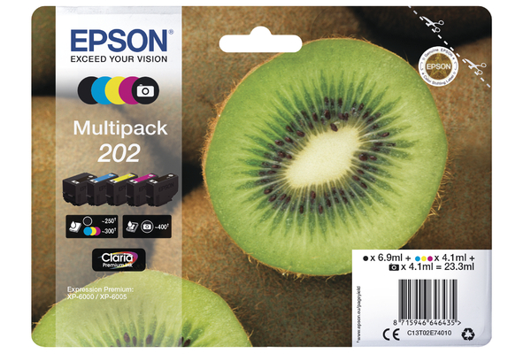 Epson 202 Multipack Ink Cartridges - T02E7 Kiwi Inkjet Printer Cartridges