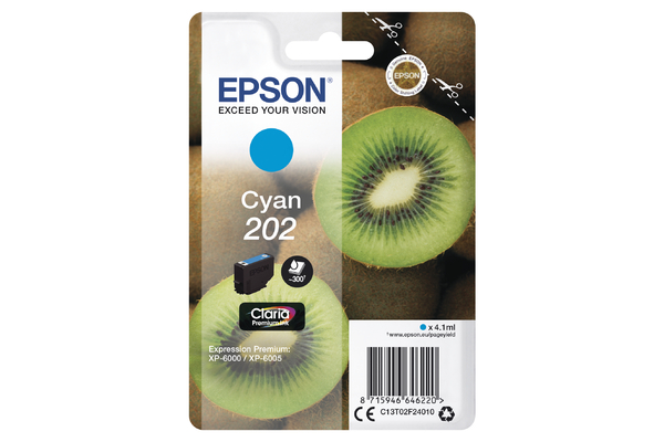Epson 202 Cyan Ink Cartridge - T02F2 Kiwi Inkjet Printer Cartridge