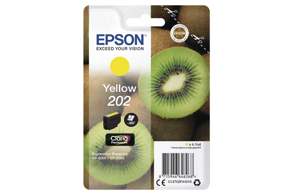 Epson 202 Yellow Ink Cartridge - T02F4 Kiwi Inkjet Printer Cartridge