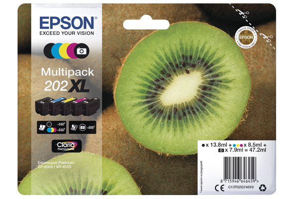 Epson 202XL High Capacity Multipack Ink Cartridges - T02G7 Kiwi Inkjet Printer Cartridges