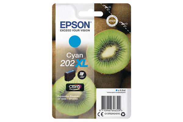 Epson 202XL High Capacity Cyan Ink Cartridge - T02H2 Kiwi Inkjet Printer Cartridge