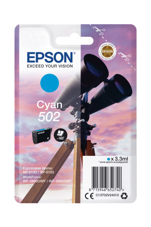 Epson 502 Cyan Ink Cartridge - T02V2 Binoculars Inkjet Printer Cartridge