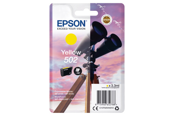 Epson 502 Yellow Ink Cartridge - T02V4 Binoculars Inkjet Printer Cartridge