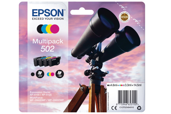 Epson 502 Multipack Ink Cartridges - T02V6 Binoculars Inkjet Printer Cartridges