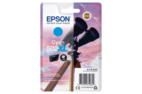 Epson 502XL High Capacity Cyan Ink Cartridge - T02W2 Binoculars Inkjet Printer Cartridge