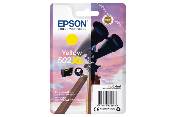 Epson 502XL High Capacity Yellow Ink Cartridge - T02W4 Binoculars Inkjet Printer Cartridge