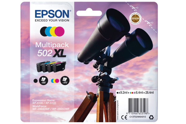 Epson 502XL High Capacity Multipack Ink Cartridges - T02W6 Binoculars Inkjet Printer Cartridges