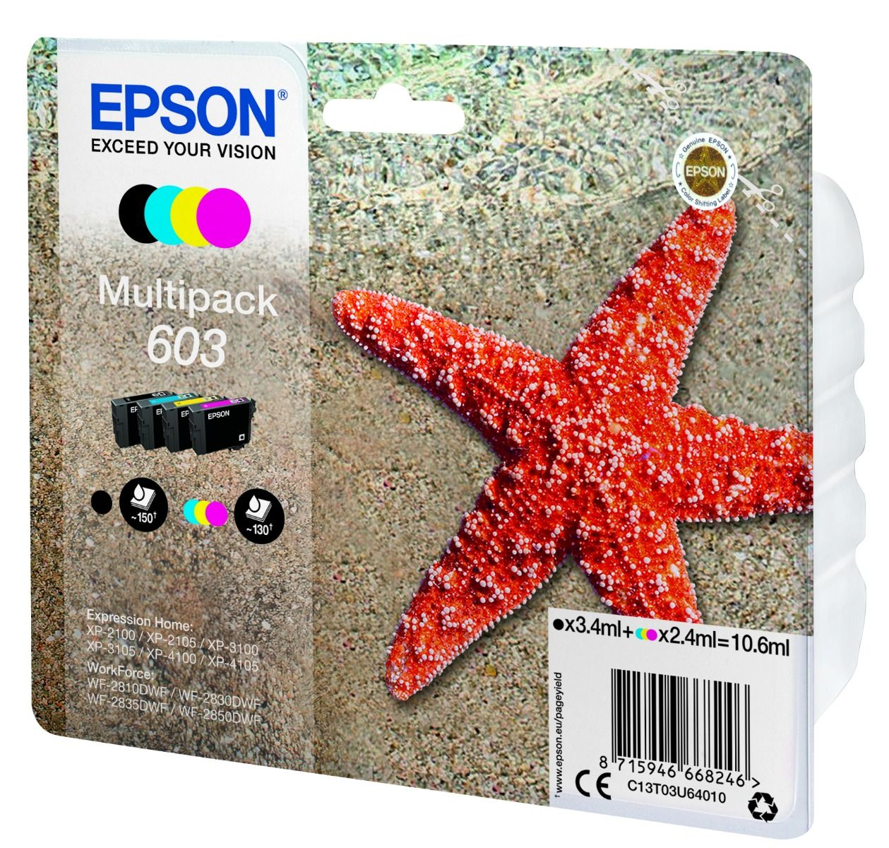 4 Color Epson 603 Ink Cartridge Multipack - T03U640