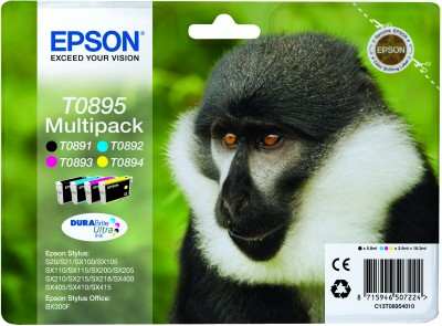 Epson T0895 DuraBrite Ultra Multi Pack Black, Cyan, Magenta, Yellow Ink Cartridges (Monkey)