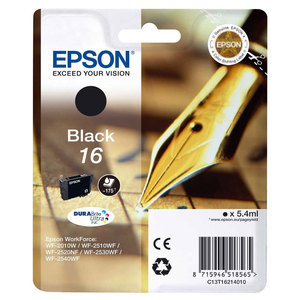 Epson 16 Durabrite Ultra Black Ink Cartridge - T1621, 175 Page Yield