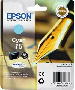Epson 16 Durabrite Ultra Cyan Ink Cartridge - T1622, 165 Page Yield