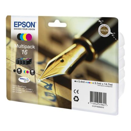 Epson 16 Durabrite Ultra Quad Pack Black, Cyan, Magenta, Yellow Ink Cartridges - T1626