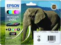 Epson 24XL Multipack BK,C,M,Y,PC,PM Ink Cartridges - T2438 Elephant Claria Photo HD, 55.7ml