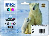 4 Colour Multipack Genuine Epson 26 Ink Cartridge (T2616 Printer Cartridge)