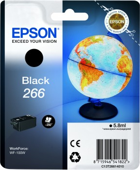 Epson 266 Black Ink Cartridge - T2661, 5.8ml