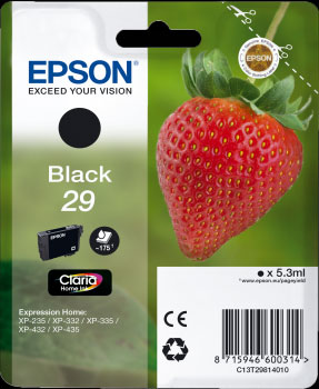 Epson 29 Black Ink Cartridge - Strawberry Claria Home Ink T2981, 5.3ml