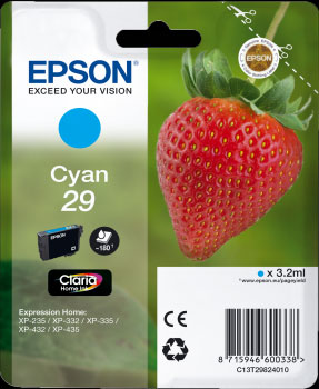 Epson 29 Cyan Ink Cartridge - Strawberry Claria Home Ink T2982, 3.2ml
