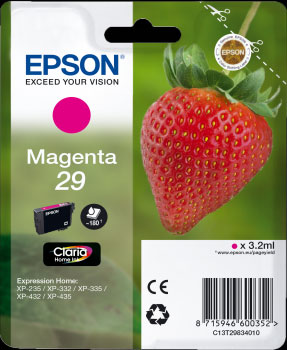 Epson 29 Magenta Ink Cartridge - Strawberry Claria Home Ink T2983, 3.2ml