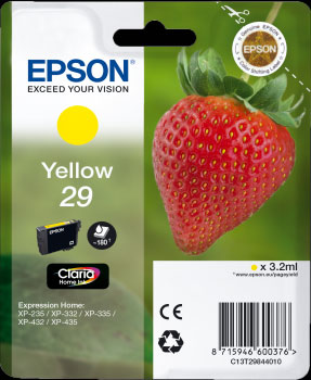 Epson 29 Yellow Ink Cartridge - Strawberry Claria Home Ink T2984, 3.2ml