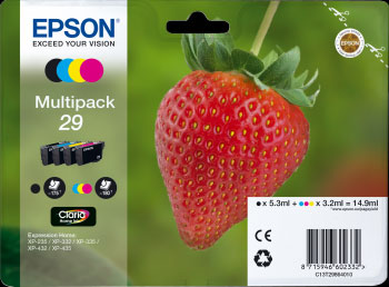 Epson 29 Multipack CMYK Ink Cartridges - Strawberry Claria Home Ink T2986, 14.9ml