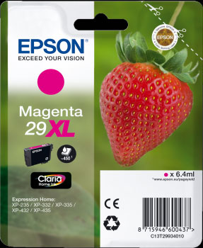 Epson 29XL Magenta Ink Cartridge - Strawberry Claria Home Ink T2993, 6.4ml
