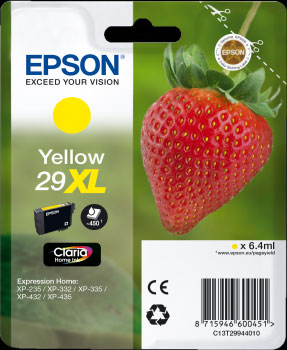 Epson 29XL Yellow Ink Cartridge - Strawberry Claria Home Ink T2994, 6.4ml