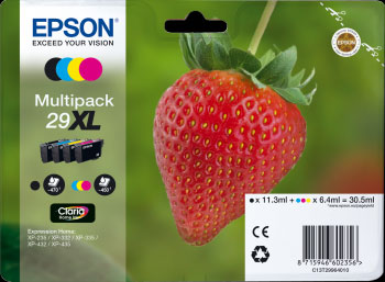Epson 29XL Multipack CMYK Ink Cartridges - Strawberry Claria Home Ink T2996, 30.5ml