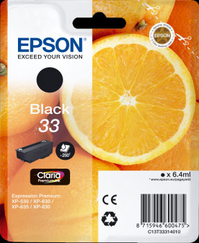 Epson 33 Black Ink Cartridge - Orange Claria Premium Ink T3331, 6.4ml