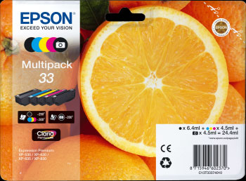 Epson 33 Multipack 5 Color Ink Cartridges - Orange Claria Premium Ink T3337, 24.4ml