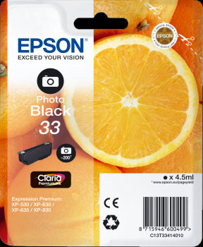 Epson 33 Photo Black Ink Cartridge - Orange Claria Premium Ink T3341, 4.5ml