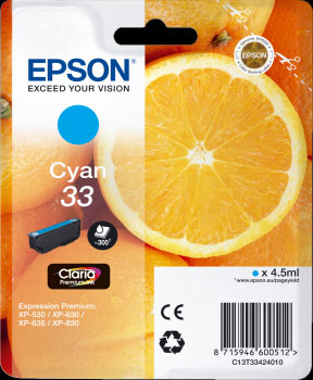 Epson 33 Photo Cyan Ink Cartridge - Orange Claria Premium Ink T3342, 4.5ml