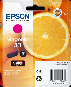 Epson 33 Magenta Ink Cartridge - Orange Claria Premium Ink T3343, 4.5ml