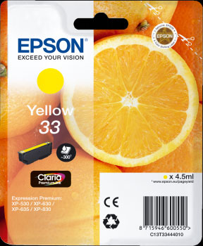 Epson 33 Yellow Ink Cartridge - Orange Claria Premium Ink T3344, 4.5ml